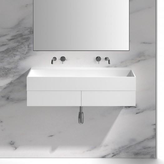 Badezimmermöbel mit Waschtisch Ixora aus Mineralguss - 2 Schubladen