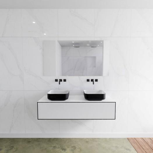 Mineralguss Doppelt Waschbecken + Badezimmermöbel MDF LAGO - 2 Schubladen