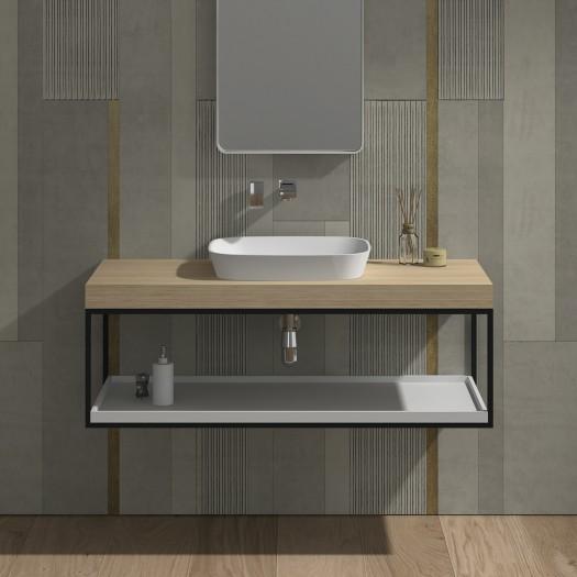 Badezimmermöbel Malmö 120 aus Mineralguss - 1 Regal