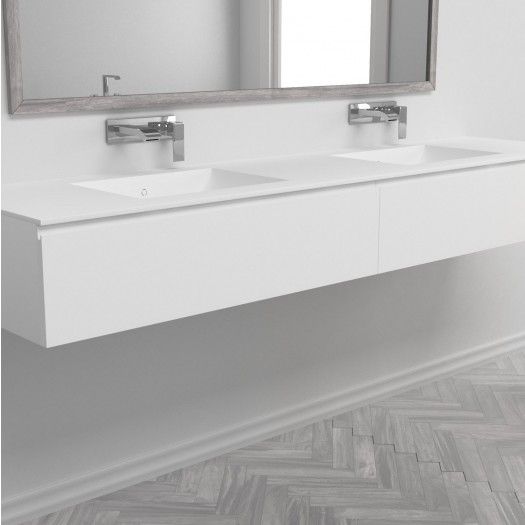 Doppelwaschtisch aus Corian® Refresh + Gaia Classic Wand- Unterschrank aus MDF - 1x2 Schubladen