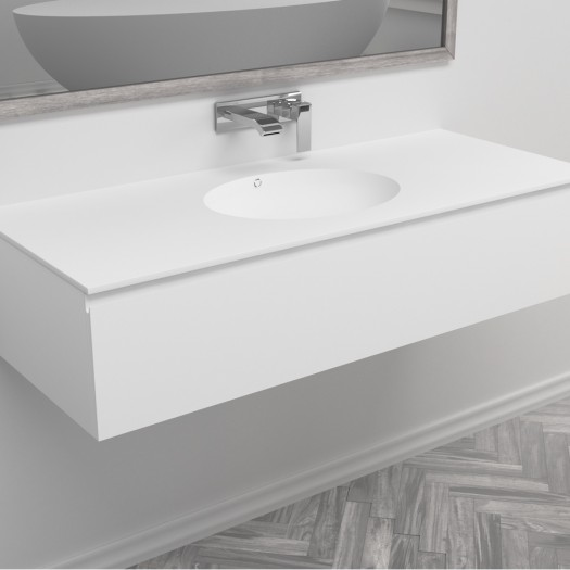 Waschtisch Corian® Relax + Gaia Classic Wand- Unterschrank aus MDF - 1 Schublade