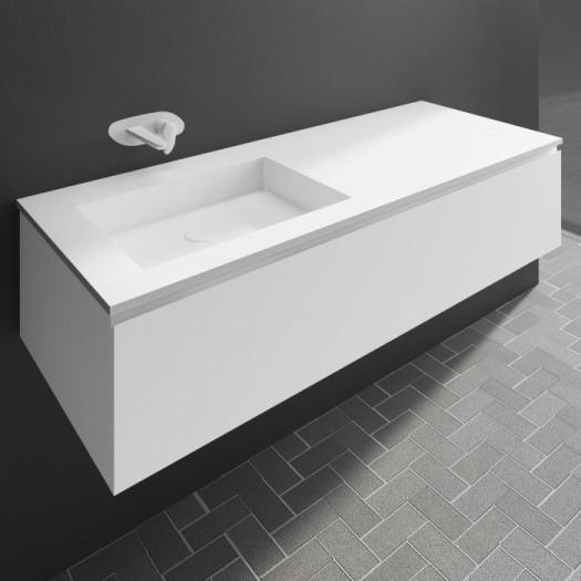 Waschtisch Corian® Square + Gaia Classic Wand- Unterschrank aus MDF - 1 Schublade