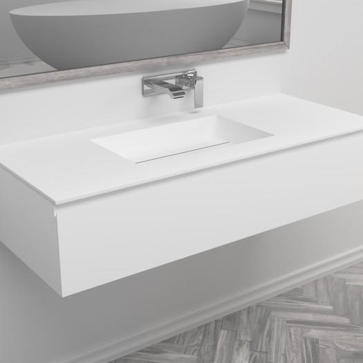 Waschtisch Corian® Texas + Gaia Classic Wand- Unterschrank aus MDF - 1 Schublade