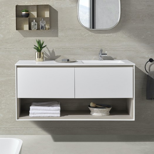 Toronto Corian® Waschtisch + Athena Classic Unterschrank - 2 Schubladen
