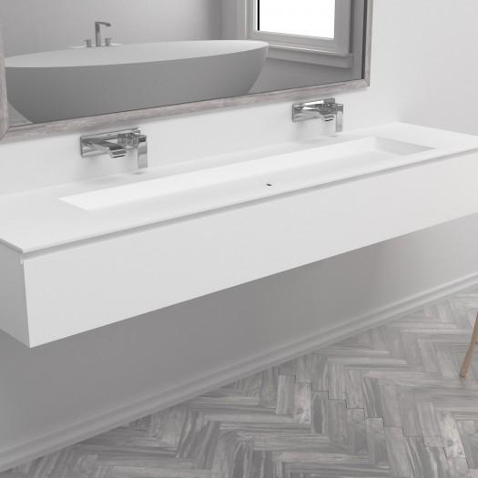 Waschtisch Corian® Indiana + Gaia Classic Wand- Unterschrank aus MDF - 1 Schublade