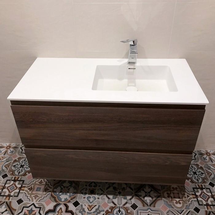 waschbecken corian square 2 gestapelte schubladen. Black Bedroom Furniture Sets. Home Design Ideas