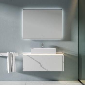 MICAR Badkamermeubelset - Badkamermeubel met 1 lade en opzetwasbak + 1 LED-spiegel met touchscreen