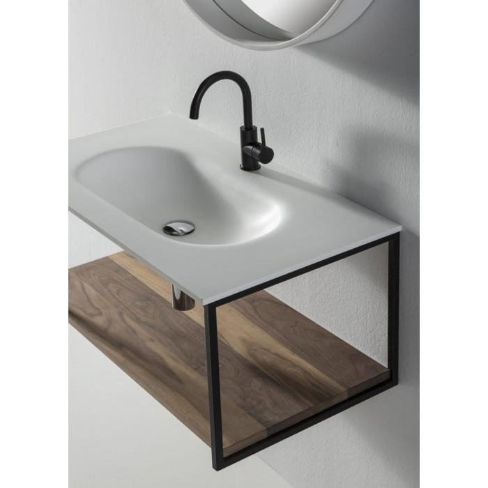 Hedendaags Badkamer kast DEPAY Solid Surface Wastafel + massief houten plank ZM-67
