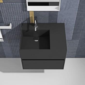 Meuble-vasque Acebo Plus Black en Solid Surface - 1 tiroir