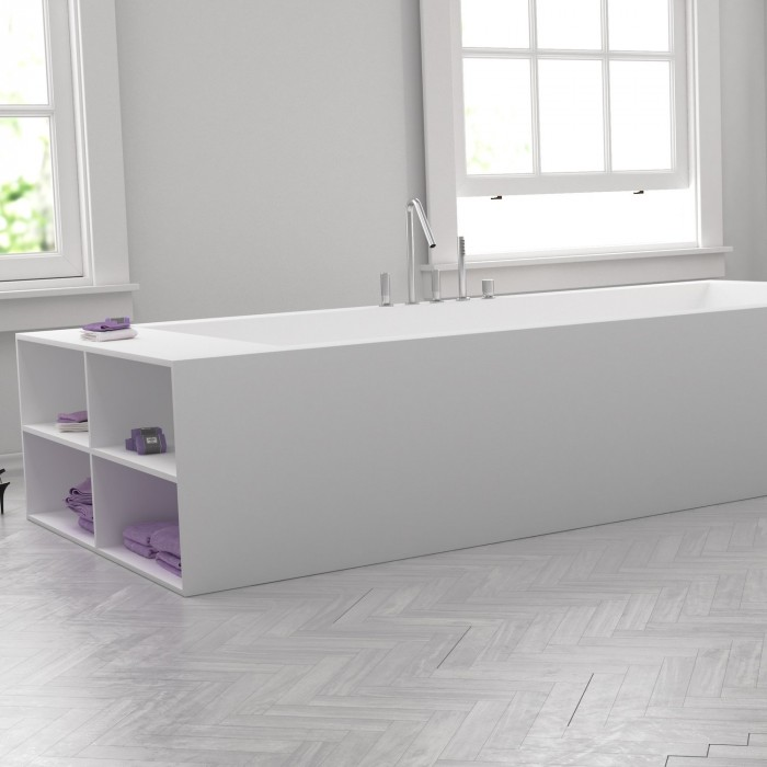 baignoire sur mesure en corian avec tageres laterales. Black Bedroom Furniture Sets. Home Design Ideas