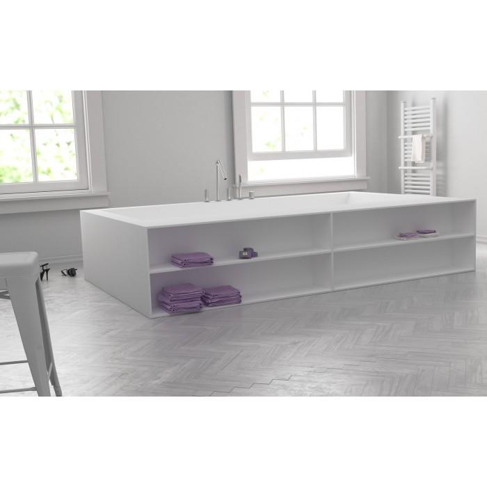 baignoire sur mesure en corian avec tageres meuble salle de bains design. Black Bedroom Furniture Sets. Home Design Ideas