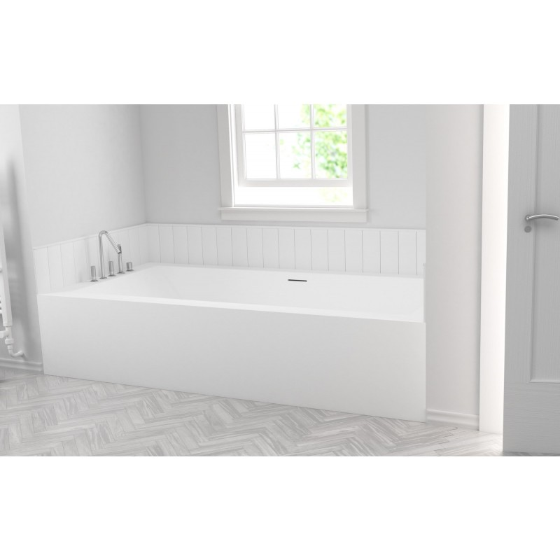 baignoire sur mesure avec 1 panneau mural corian by dupont. Black Bedroom Furniture Sets. Home Design Ideas