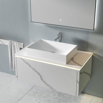 MICAR Badmöbel-Set - Badezimmermöbel mit 1 Schublade und Aufsatzbecken + 1 Touch Screen LED-Spiegel