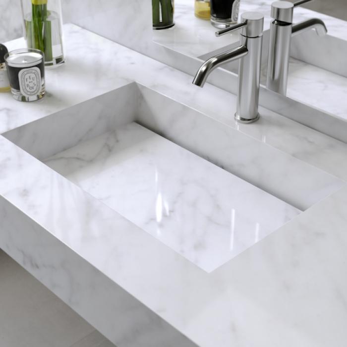 Doppelwaschbecken C2 - Marmor Carrara | Riluxa.com