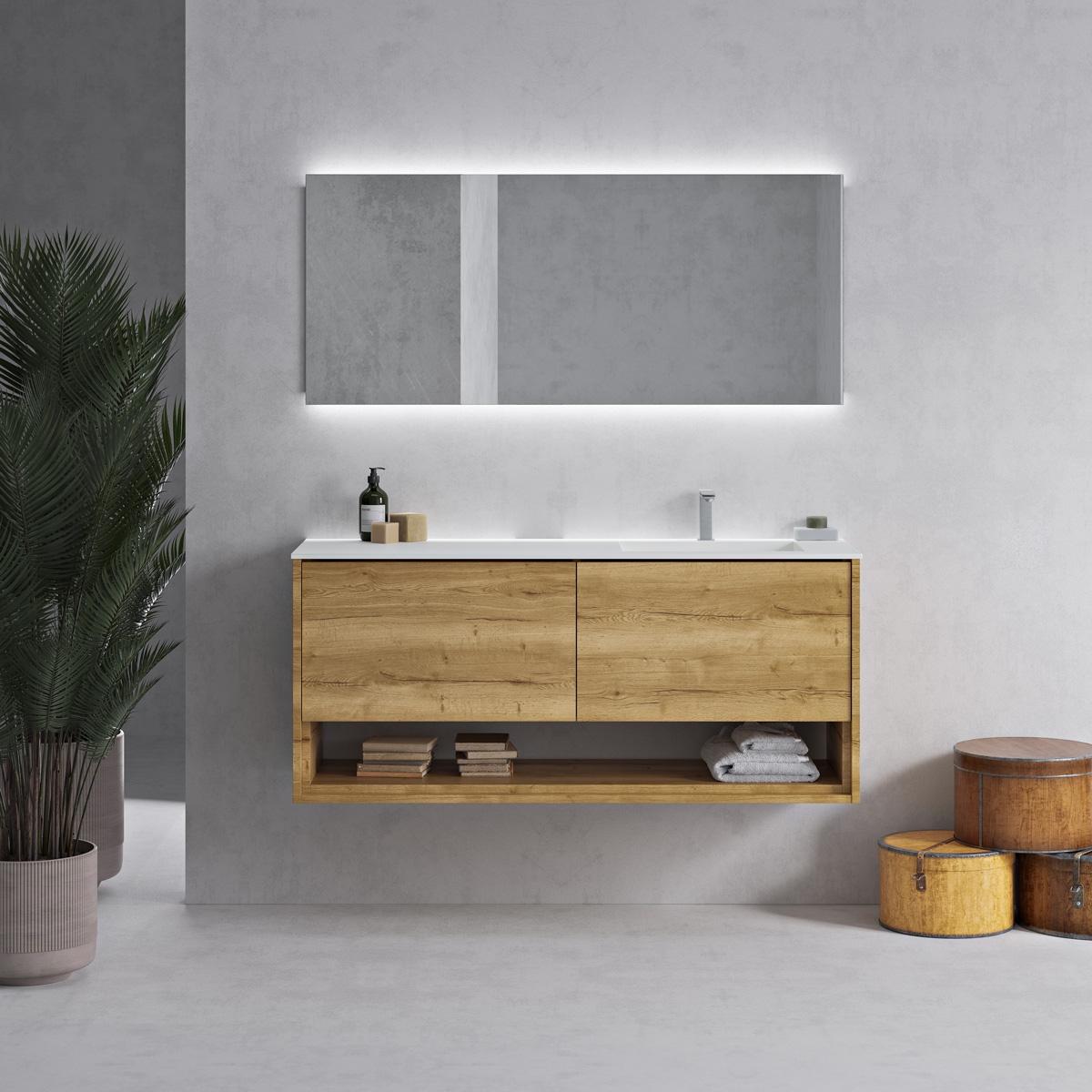 Meuble carthage en chêne massif et lavabo Corian®